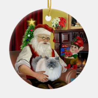 Santa at Home - Himalayan cat (#5 - blue cream) Ceramic Ornament
