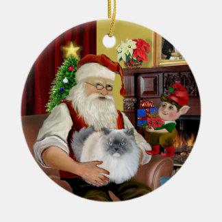 Santa at Home - Himalayan cat (#5 - blue cream) Ceramic Ornament
