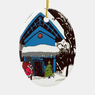 Santa at Swiss Chalet Ceramic Ornament