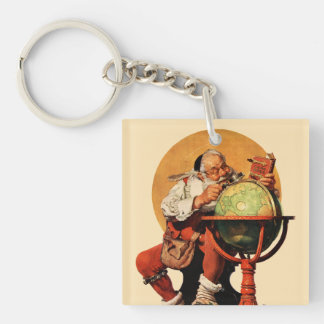 Santa at the Globe Double-Sided Square Acrylic Keychain