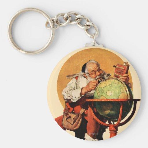 Santa at the Globe Key Chain