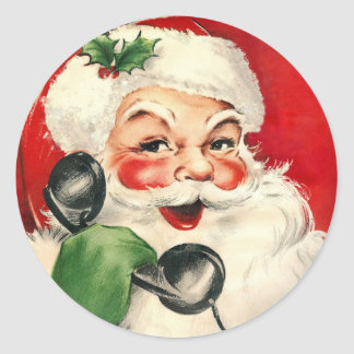 Santa at the Phone Classic Round Sticker