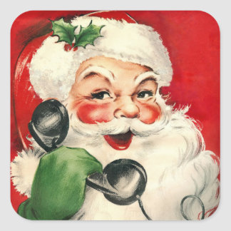 Santa at the Phone Square Sticker