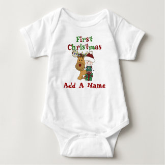Santa Baby and Reindeer First Christmas Bodysuit