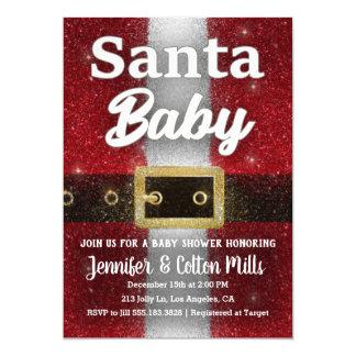 Santa Baby - Baby Shower Glitter Glam Invitation
