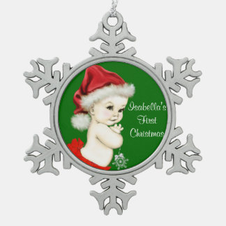 Santa Baby Girls 1st Christmas Snowflake Pewter Christmas Ornament