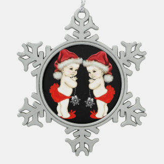 Santa Baby Twin Baby Girl Christmas Snowflake Pewter Christmas Ornament