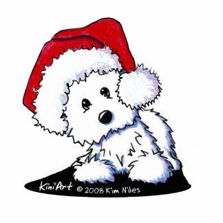 Santa Baby Westie Dog Acrylic Sculpture Standing Photo Sculpture