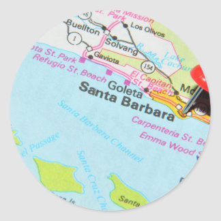 Santa Barbara, California Classic Round Sticker