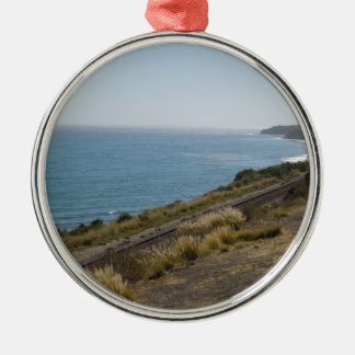 Santa Barbara Coastline with Railroad Tracks Metal Ornament