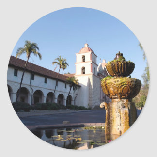 Santa Barbara Mission Fountain Classic Round Sticker