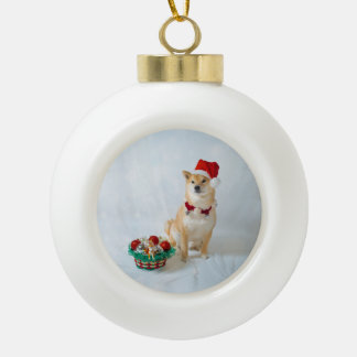 Santa Barkley Ceramic Ball Ornament