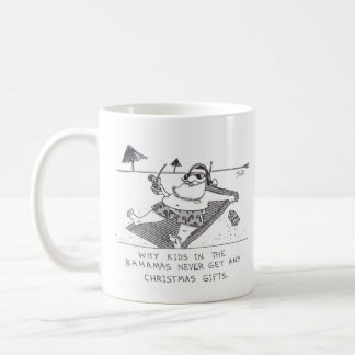 Santa Beach Time right hand Christmas cartoon mug