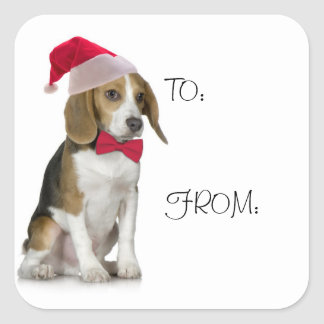 Santa Beagle Gift Stickers