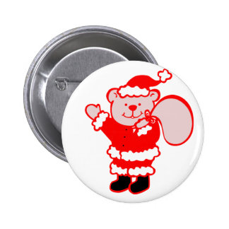 Santa Bear Pinback Buttons