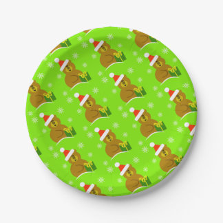 Santa Bear Christmas Paper Plates