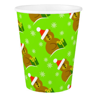 Santa Bear Christmas Party Paper Cups