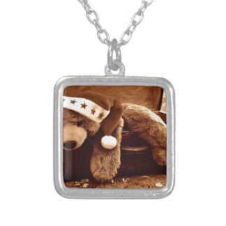 Santa bear silver plated necklace