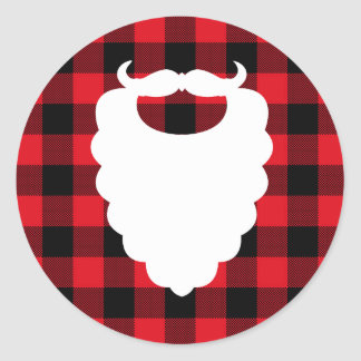 Santa Beard Red Plaid Holiday Classic Round Sticker
