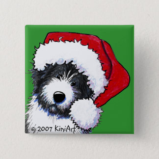 Santa Bearded Collie Gifts 2 Inch Square Button