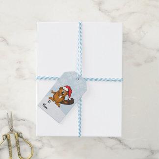 Santa beaver christmas gift tag