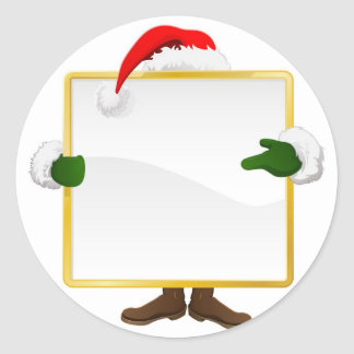Santa behind Christmas sign Round Stickers