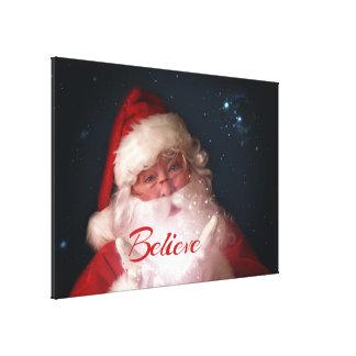 Santa Believe Christmas Art Canvas Print