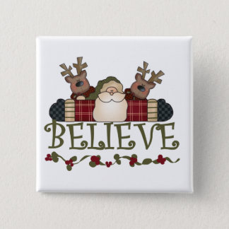Santa Believe T-shirts and Gifts 2 Inch Square Button