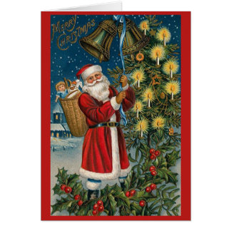 Santa Bells Vintage Christmas Card