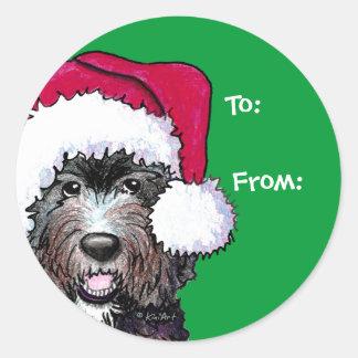 Santa Black Doodle Classic Round Sticker