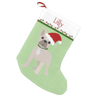 Santa Blonde French Bulldog Personalized Small Christmas Stocking