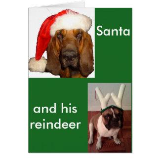 Santa Bloodhound and Reindeer French Bulldog Card