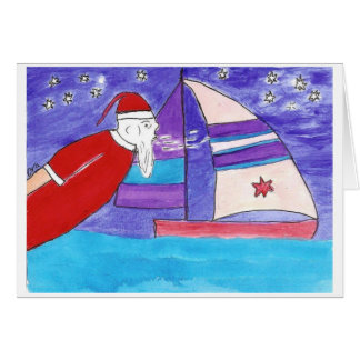 Santa Blowing wind in your sails Card