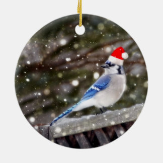 Santa Blue Jay Ceramic Ornament