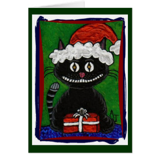 Santa BoBo - Black Cat Christmas greeting card (2)