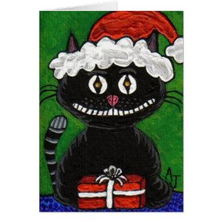 SANTA BOBO the BLACK CAT - Christmas card