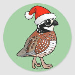 Santa Bobwhite Round Stickers