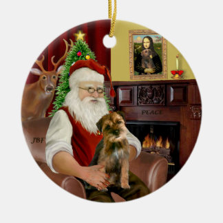 Santa - Border Terrier 1 Round Ceramic Ornament