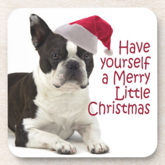 Santa Boston Terrier Coasters