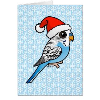 Santa Budgie Blue Card