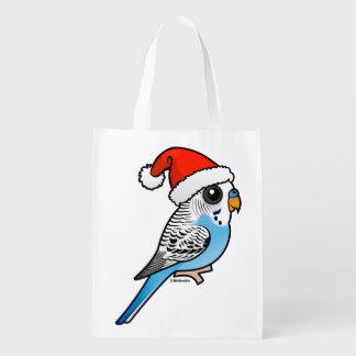 Santa Budgie Blue Grocery Bag