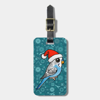 Santa Budgie Blue Luggage Tag