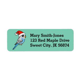 Santa Budgie Blue Return Address Label