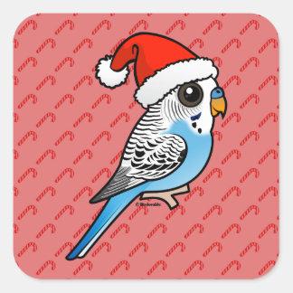 Santa Budgie Blue Square Sticker