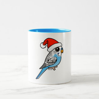 Santa Budgie Blue Two-Tone Coffee Mug