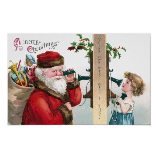 Santa Calling From Antique Telephone Poster