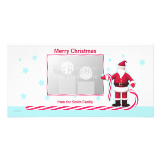 Santa, Candy Cane and Stars Christmas Custom Photo Card