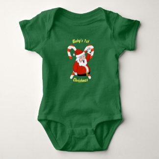 Santa & Candy Canes Christmas Baby Bodysuit