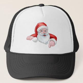 Santa Cartoon Pointing Down from Behind Sign Trucker Hat