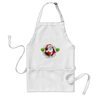 Santa Cartoon Tearing Through a Background Standard Apron
